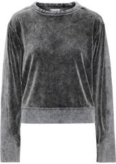 Rag & Bone Woman Jersey-paneled Faded Cotton-blend Velour Sweatshirt Anthracite