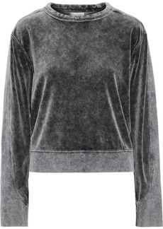 Rag & Bone Woman Jersey-paneled Faded Cotton-blend Velour Sweatshirt Anthracite