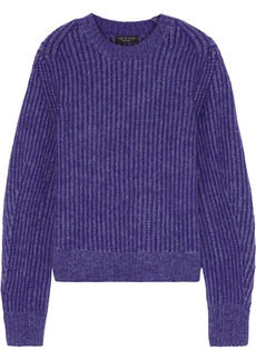 Rag & Bone Woman Jonie Striped Brushed Knitted Sweater Purple