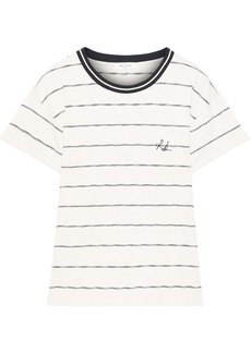 Rag & Bone Woman Julien Embroidered Striped Cotton-jersey T-shirt Ivory
