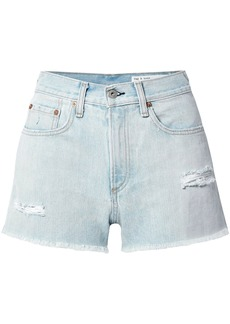 Rag & Bone Woman Justine Distressed Denim Shorts Light Denim