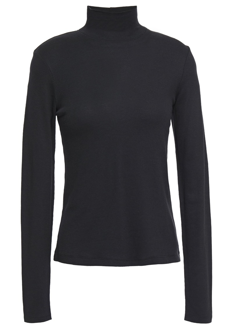 Rag & Bone Woman Kari Ribbed Cotton And Modal-blend Jersey Turtleneck Top Black