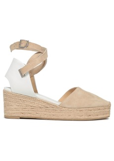 Rag & Bone Woman Kea Leather And Suede Wedge Espadrilles Sand