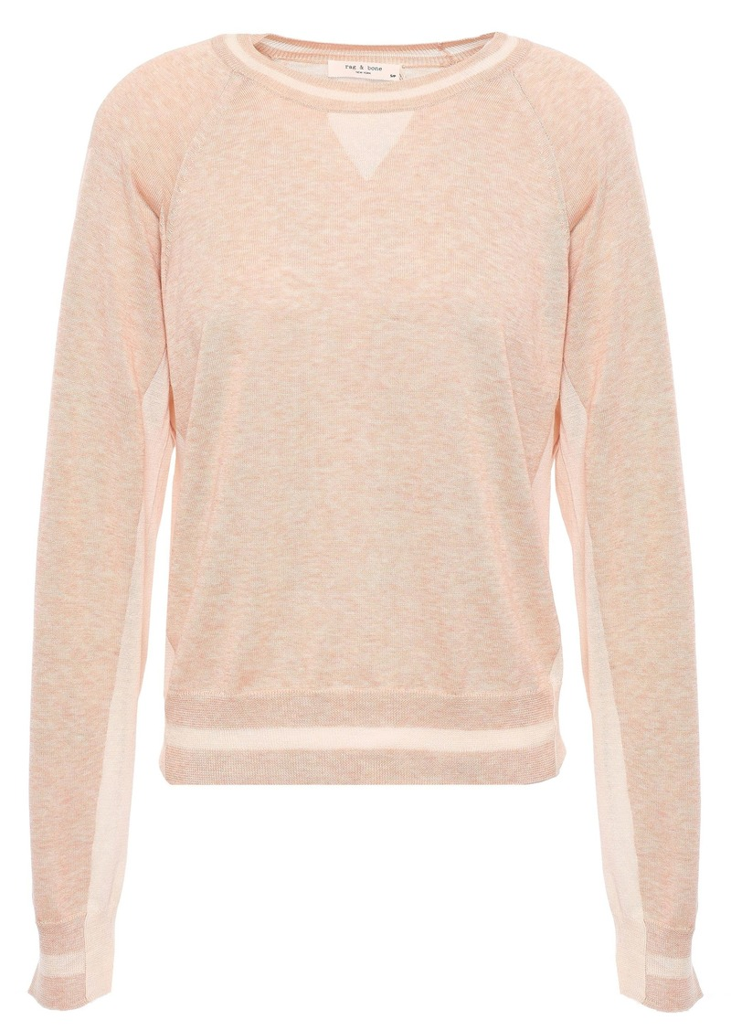 Rag & Bone Woman Kento Mélange Pima Cotton Sweater Peach