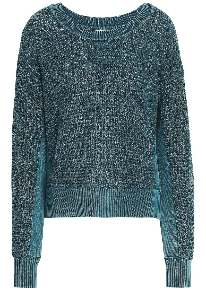 Rag & Bone Woman Kyra Metallic Open-knit Cotton-blend Sweater Blue