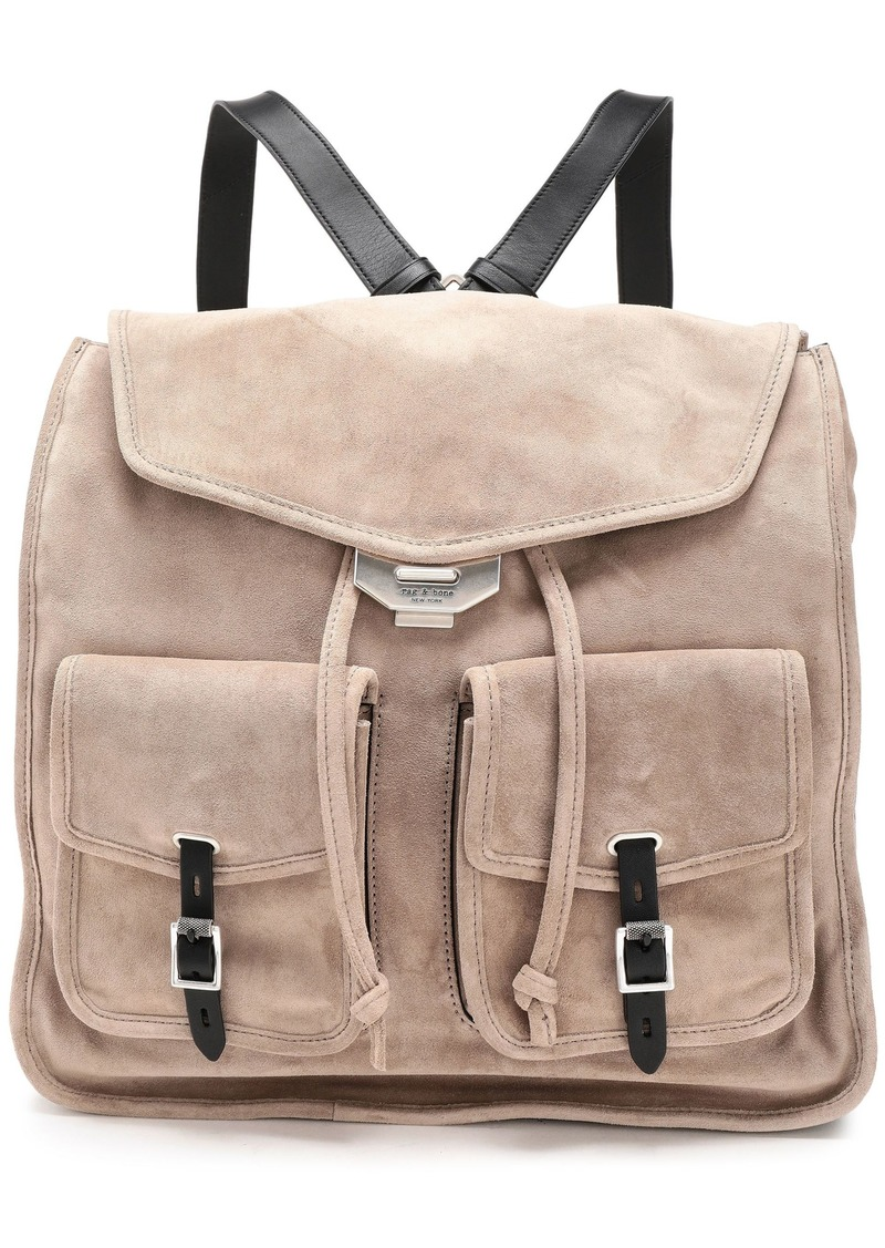 Rag & Bone Woman Leather-trimmed Suede Backpack Mushroom