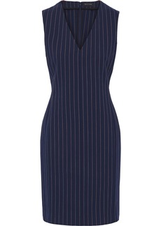 Rag & Bone Woman Leki Grosgrain-trimmed Pinstriped Stretch-cotton Dress Navy