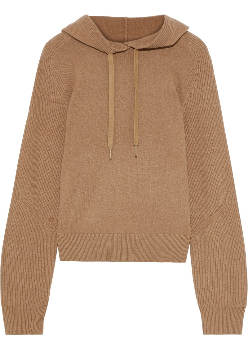 Rag & Bone Woman Logan Ribbed Cashmere Hooded Sweater Camel
