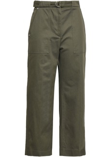 Rag & Bone Woman Lora Belted Cotton-twill Wide-leg Pants Army Green