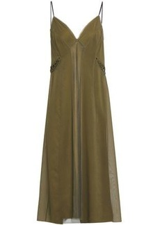 Rag & Bone Woman Louise Stretch-silk Chiffon And Mesh Midi Slip Dress Army Green