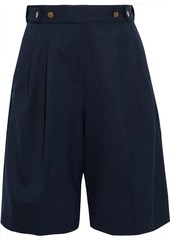 Rag & Bone Woman Luca Pleated Satin-trimmed Twill Shorts Navy