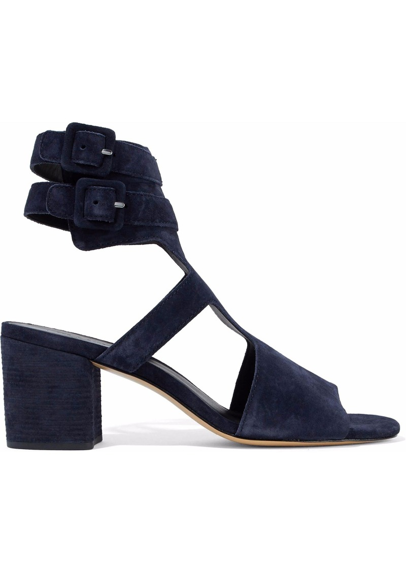 Rag & Bone Woman Madison Cutout Suede Sandals Navy
