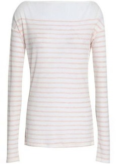 Rag & Bone Woman Madison Striped Ribbed Tencel And Wool-blend Top Off-white