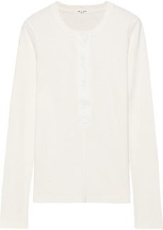 Rag & Bone Woman Mallory Ribbed Stretch-cotton Thermal Top Ivory