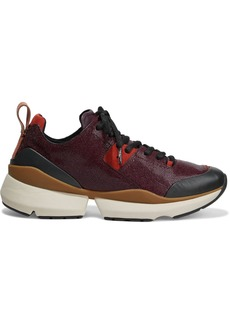 Rag & Bone Woman Manston Runner Suede-trimmed Glossed Stingray-effect Leather Sneakers Burgundy