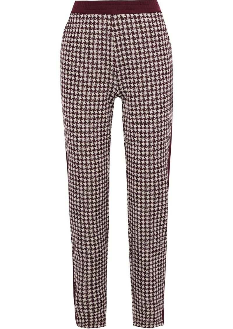 Rag & Bone Woman Mari Houndstooth Jacquard-knit Track Pants Brick