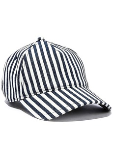 Rag & Bone Woman Marilyn Leather-trimmed Striped Denim Baseball Cap Navy