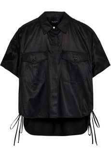 Rag & Bone Woman Mason Lace-up Sateen-twill Shirt Black