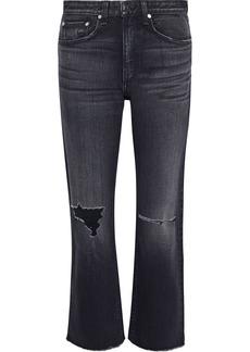 Rag & Bone Woman Maya Cropped Distressed High-rise Straight-leg Jeans Charcoal