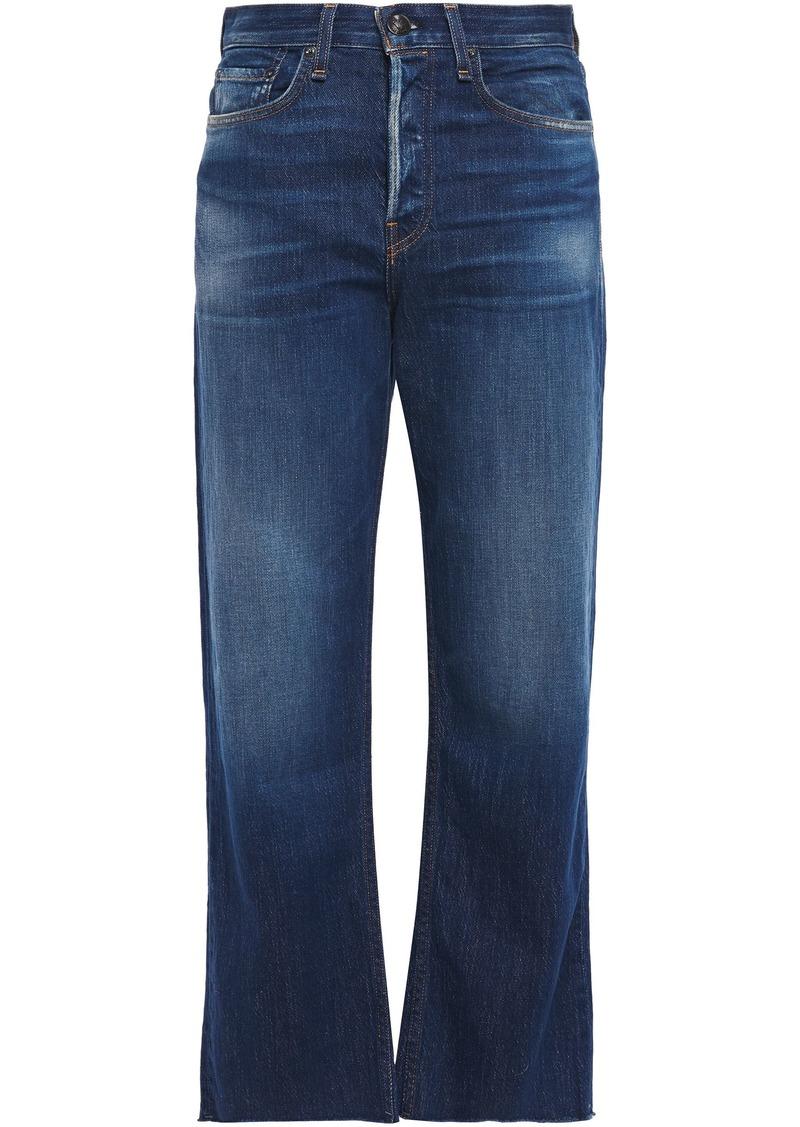 Rag & Bone Woman Maya Cropped Frayed High-rise Kick-flare Jeans Mid Denim