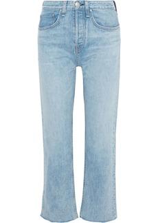 Rag & Bone Woman Maya Cropped Frayed Mid-rise Bootcut Jeans Light Denim