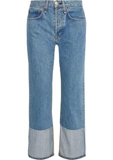 Rag & Bone Woman Maya Cropped Paneled High-rise Straight-leg Jeans Mid Denim