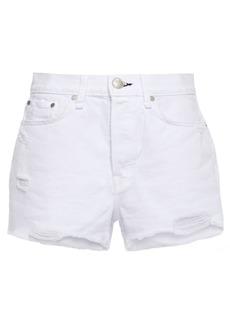Rag & Bone Woman Maya Distressed Cotton Shorts White