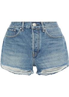Rag & Bone Woman Maya Distressed Denim Shorts Mid Denim