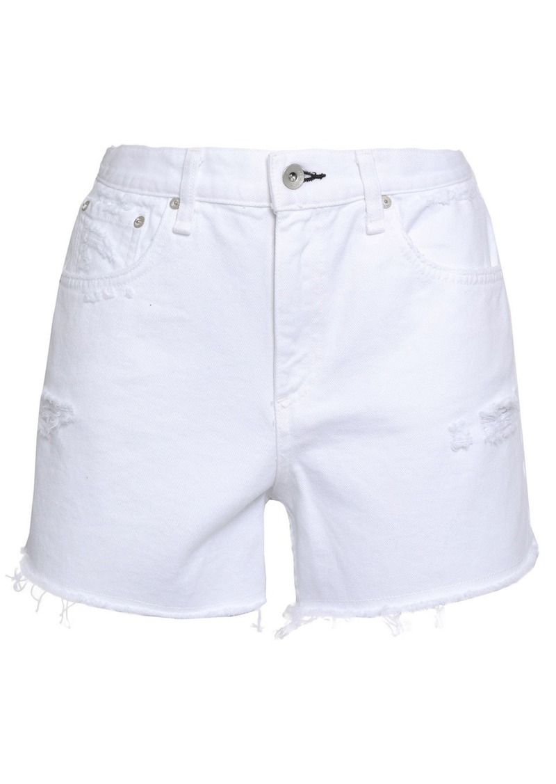 Rag & Bone Woman Maya Distressed Denim Shorts White