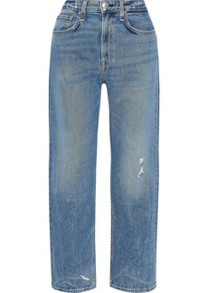 Rag & Bone Woman Maya Distressed High-rise Straight-leg Jeans Light Denim