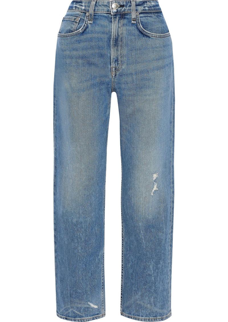 Rag & Bone Woman Maya Distressed High-rise Straight-leg Jeans Light Denim