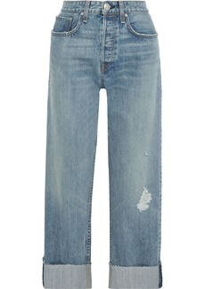 Rag & Bone Woman Maya Distressed High-rise Straight-leg Jeans Mid Denim