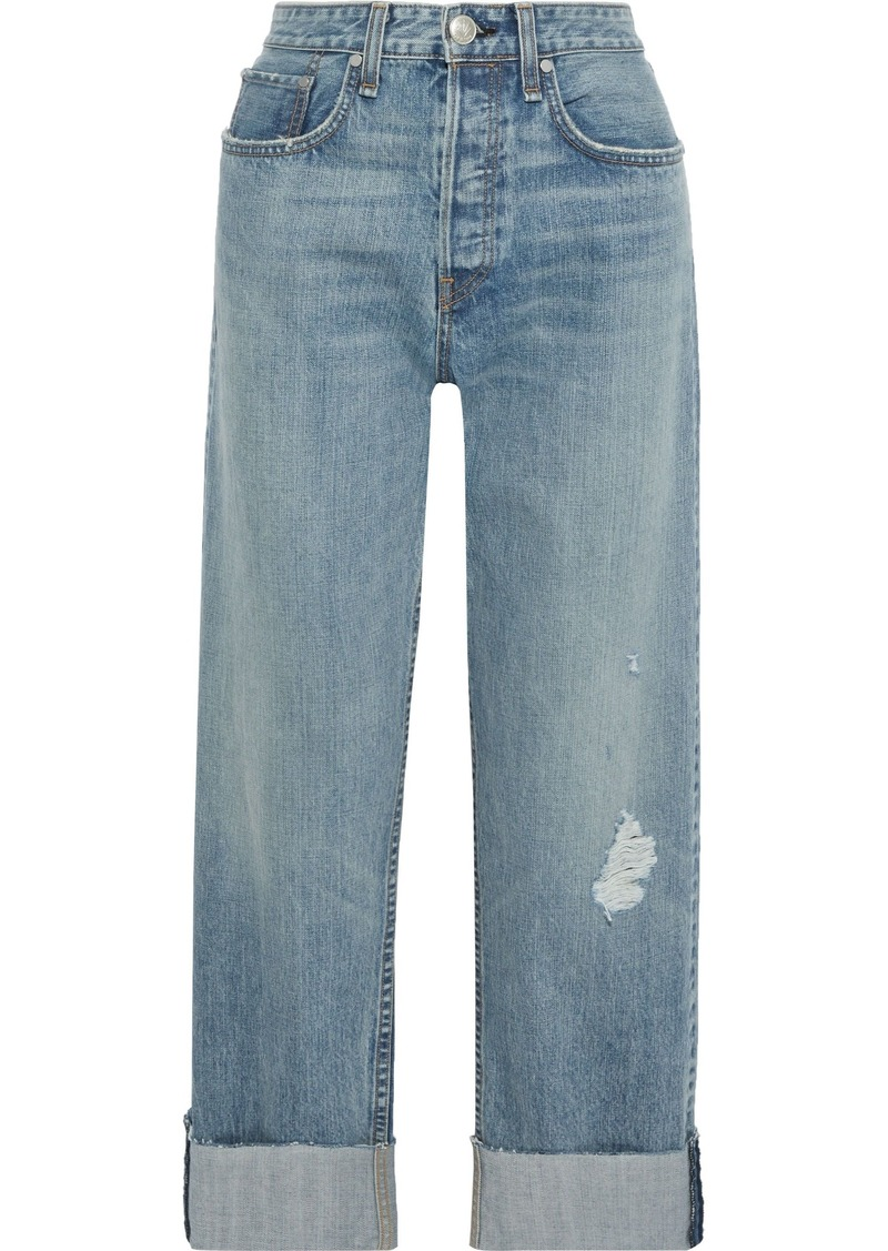 Rag & Bone Woman Maya Distressed High-rise Straight-leg Jeans Mid Denim