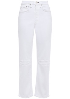 Rag & Bone Woman Maya Distressed High-rise Straight-leg Jeans White