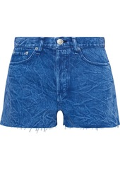 Rag & Bone Woman Maya Frayed Acid-wash Denim Shorts Mid Denim