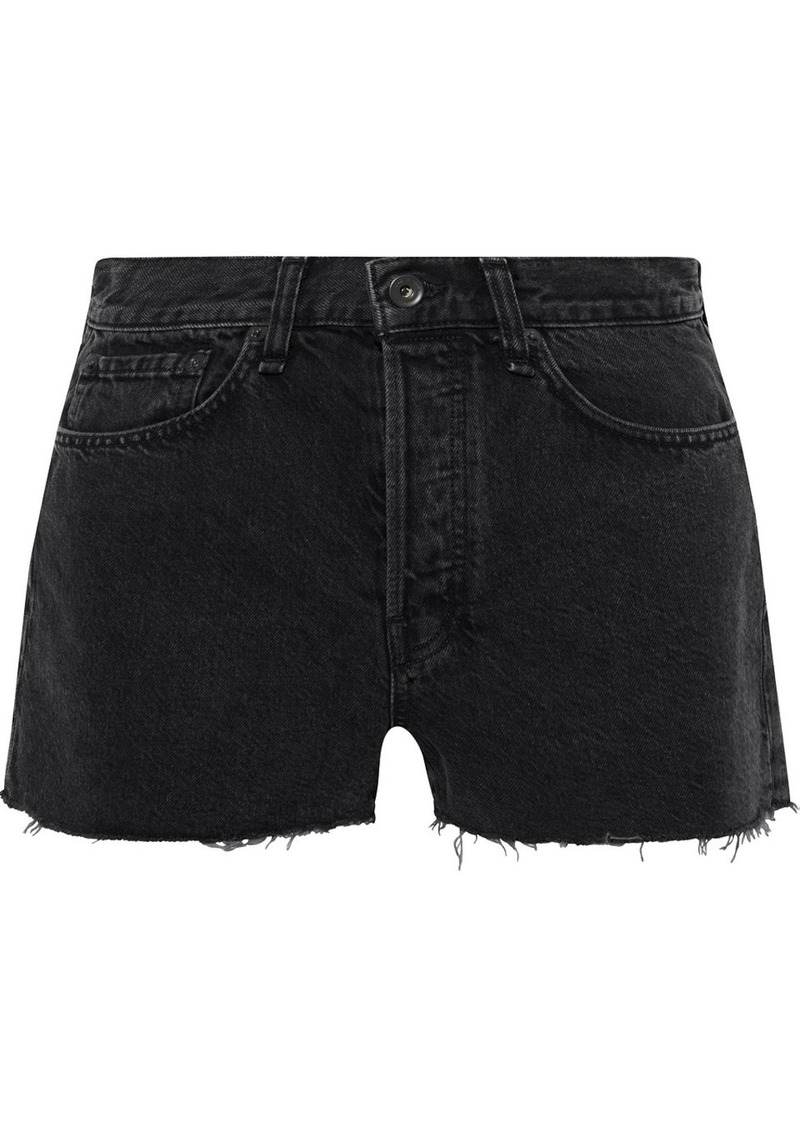 Rag & Bone Woman Maya Frayed Denim Shorts Charcoal