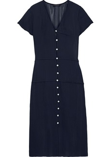 Rag & Bone Woman Mccormick Button-detailed Chiffon Midi Dress Midnight Blue