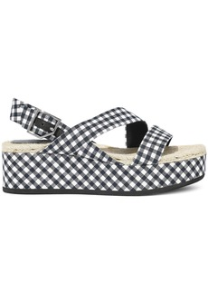Rag & Bone Woman Megan Gingham Canvas Platform Slingback Sandals Navy
