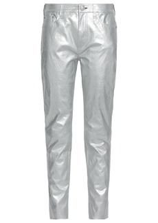 Rag & Bone Woman Metallic Cracked-leather Tapered Pants Silver