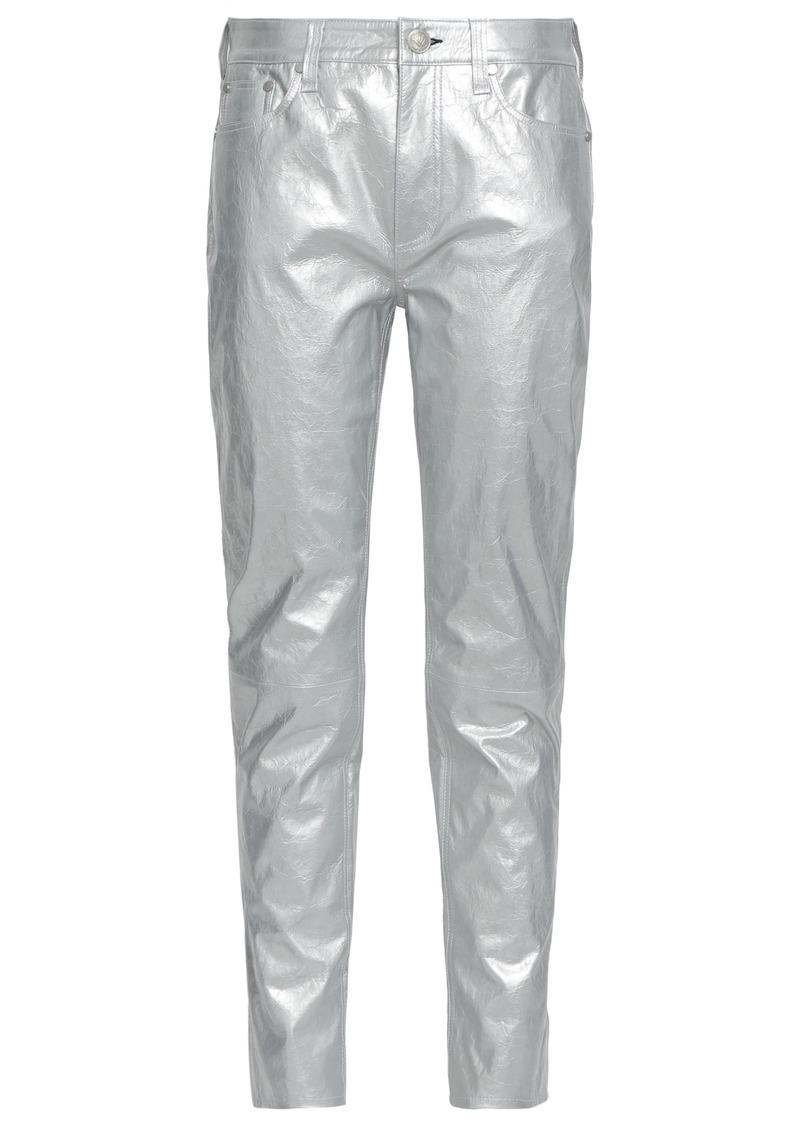 Rag & Bone Woman Metallic Cracked-leather Tapered Pants Silver