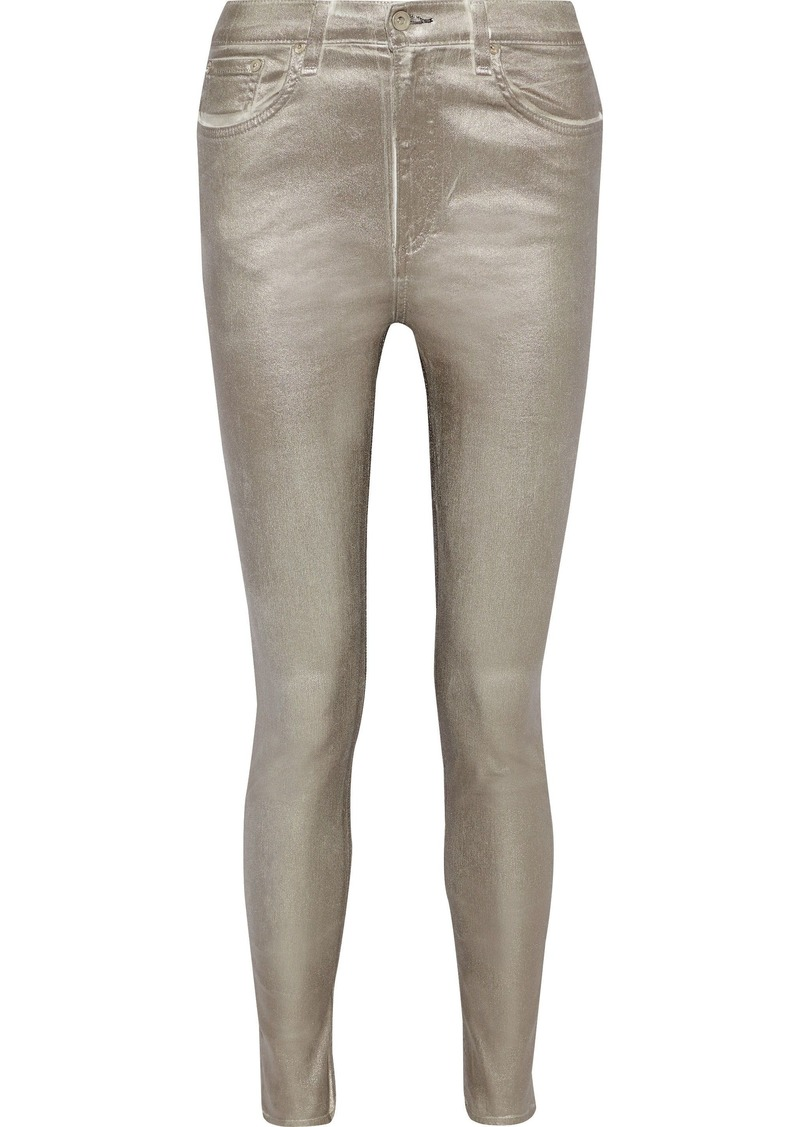 Rag & Bone Woman Metallic High-rise Skinny Jeans Platinum