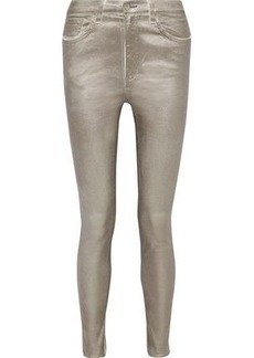 Rag & Bone Woman Metallic High-rise Skinny Jeans Platinum