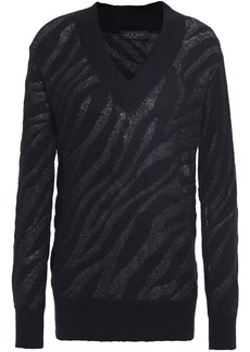 Rag & Bone Woman Germain Metallic Alpaca-blend Jacquard Sweater Black