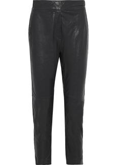 Rag & Bone Woman Mila Leather Tapered Pants Black