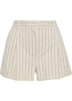 Rag & Bone Woman Millie Pleated Striped Cotton-jacquard Shorts Ivory