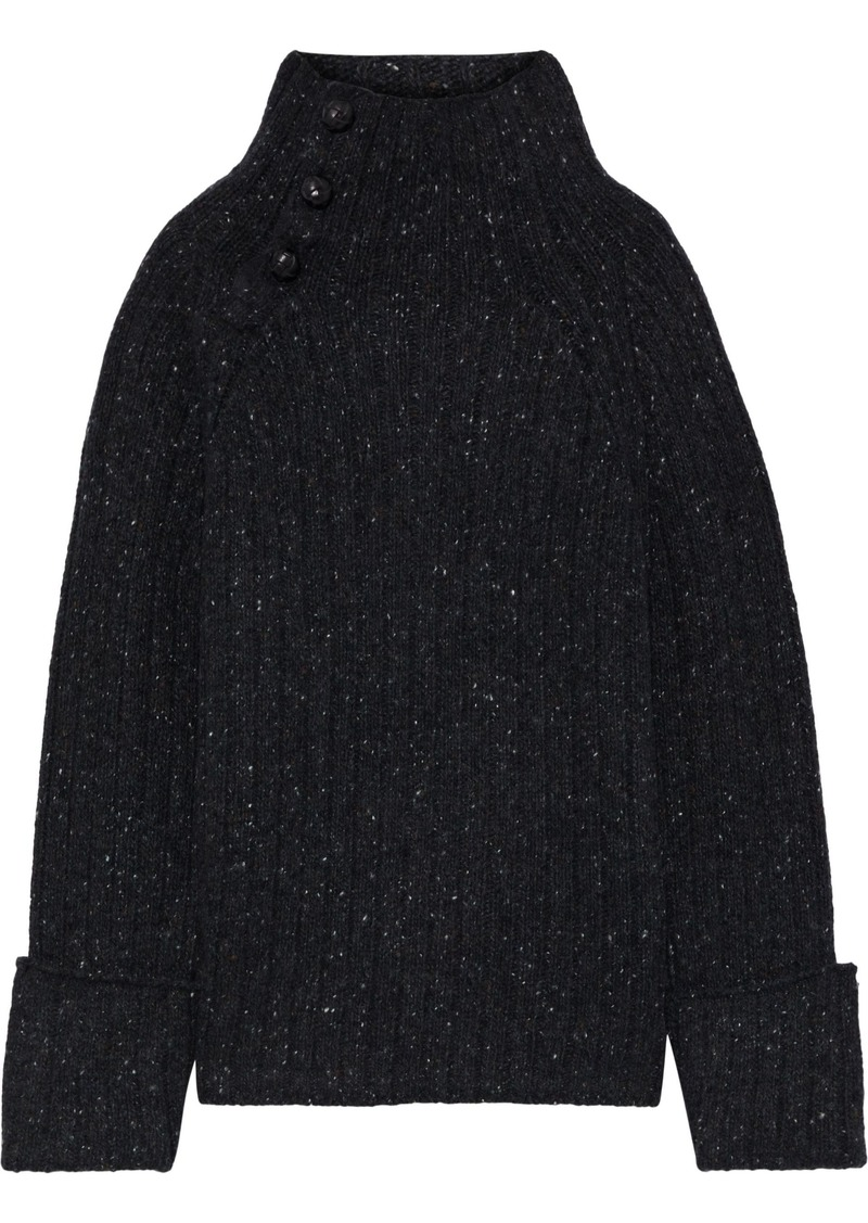 Rag & Bone Woman Mélange Ribbed Wool-blend Sweater Charcoal
