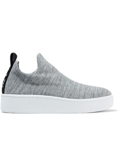 Rag & Bone Woman Mélange Stretch-knit Slip-on Platform  Sneakers Gray