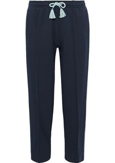 Rag & Bone Woman Molly Cropped Striped French Cotton-terry Track Pants Midnight Blue