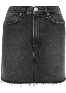Rag & Bone Woman Moss Frayed Denim Mini Skirt Charcoal