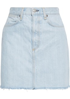 Rag & Bone Woman Moss Frayed Denim Mini Skirt Light Denim